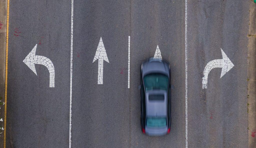 Overhead of roadway turn lanes